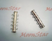 2 Sets Silver Plated Slide Magnetic Clasp with 5 Loops - Jewelry Supplies - Connector