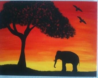 Original Silhouette Acrylic Painting