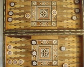 Vintage  Backgammon Chess Checkers Board Game 3 In 1  Inlaid Marquetry Wood Box