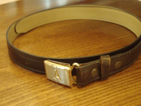"Vintage Brown Leather Belt Hickok Sierra Retro Metal Buckle Engraved ""A"""