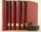 Six Red Shabby Chic Vintage Book Collection