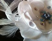 Rain Drops on White Flower headband, baby flower headband, hair flower clip