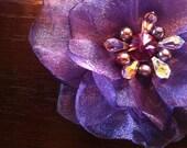 Purple Crystal Rivalry Flower headband, baby flower headband, flower hair clip