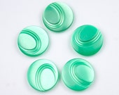 Vintage green buttons plastic - set of five