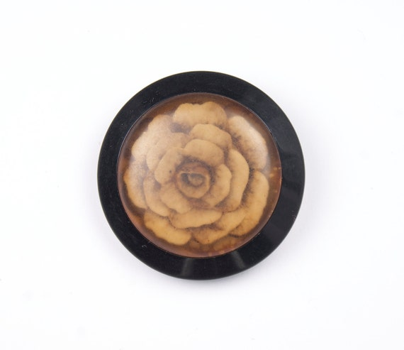 Big black button -Vintage  button with flower