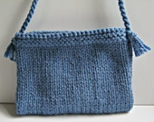 RESERVED Knitted bag/purse - small size in blue