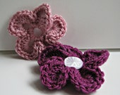 Crocheted flowers, set of 2 button on flowers in pale pink and purple