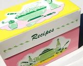 Colorful Pastel 1950s Tin Recipe Box / Secrets / Stash