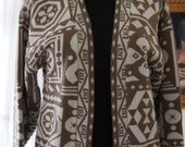 80s  Brown and Cream Cardigan Vintage Sweater