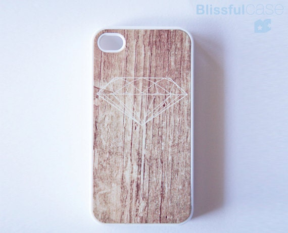 iphone 4 case - diamond on antique printed wood