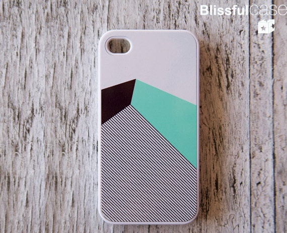 iphone 4 case - mint black color block with stripe