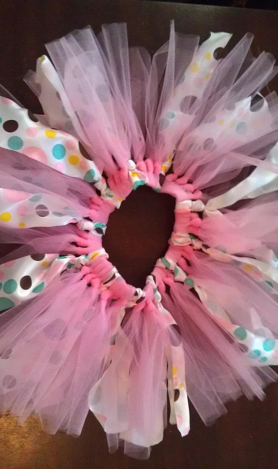 Pink tulle and polka dot ribbon tutu
