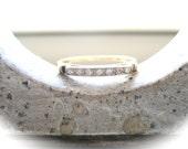 Beautiful Vintage 14K Yellow and White Gold Diamond Band Ring