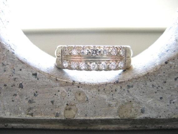 DEPOSIT TO HOLD--Gorgeous Vintage 14K Yellow and White Gold Diamond Band Ring--Wedding Ring
