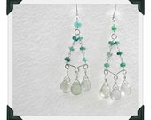 Genuine Emerald & Prehnite Sterling Silver Earrings. Chandelier Drop.