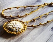 Hand embroidered Crocheted women Necklace Mustard Rustic necklace