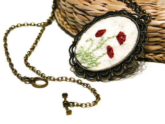 Poppy Embroidered necklace Pendant Brass Felt Embroidery