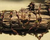 long , green copper opal, green jade necklace and earrings