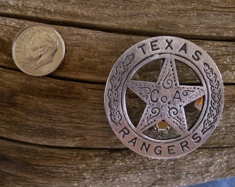 """Texas Rangers Company  """"A""""  Badge  with  pin  back"""