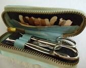 Vintage Travel Nailbrush and Sewing Kit