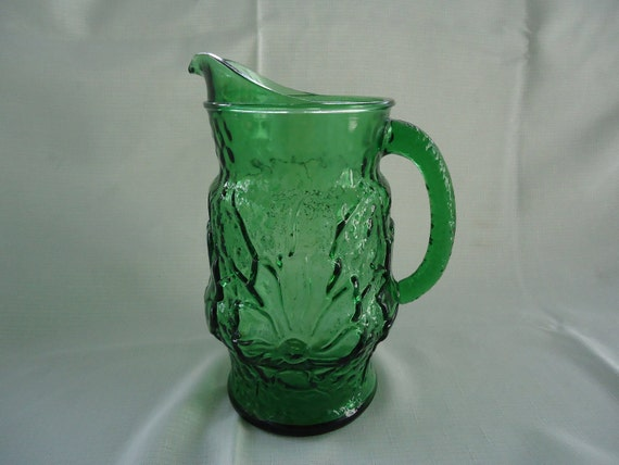 Vintage Water Pitcher, Green Glass
