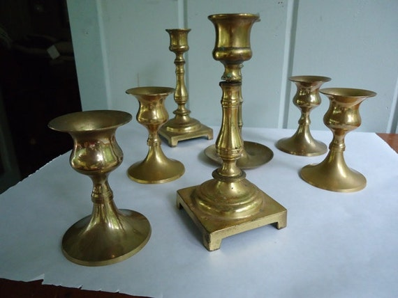 Reserved for Molly:  Vintage Brass Candlesticks, Eclectic Mix, 11