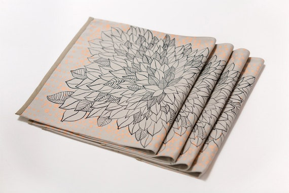 Set of Four Placemats With Flower Print