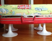Vintage Upcycled Red Samsonite Suitcase Stool / Pet Dog Bed / Footstool / Ottoman