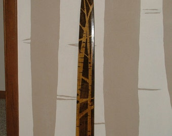 Stained Birch Art on Wooden Mink Stretcher (A)