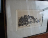 1900's Wilfrid Ball Signed Etching 5x7 Shakespeare's House in Tiger Oak Frame