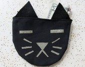 Black with Gold Cat Pouch Change Purse
