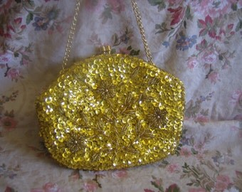 Gold Bead and Sequin evening bag.
