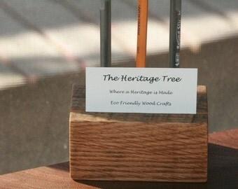 Oak Desk Caddy: Pen/Pencil Holder BUSINESS CARD HOLDER Reclaimed Lumber