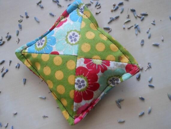 Lavender and Cedar Sachet - Vintage Floral and Polka Dot Patchwork