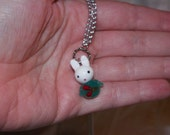 Lampwork Glass cute White Bunny W/ Green Outfit Pendant on Silver Chain