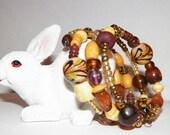Bohemian Boho Earthy Brown Shades Lampwork Glass and Wood Bead Memory Wire Bracelet