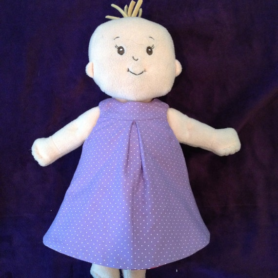 Little Reversible Dress in Purple Dot and Brown Flower for Baby Stella, Waldorf and 13, 14, 15, 16 Inch Dolls, Doll,Clothes