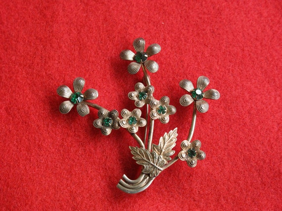 Sterling Silver Flower Bouquet Pin, reserved for Jill