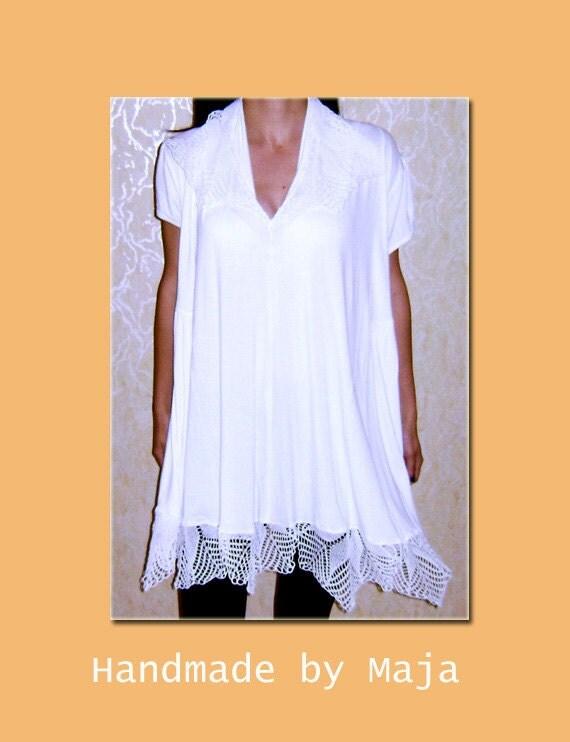 Crochet lace tunic/dress - white lace tunic - crochet collar