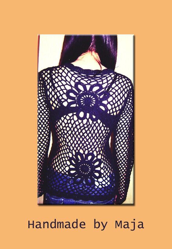 Black crochet cardigan - cotton cardigan - crochet sweater