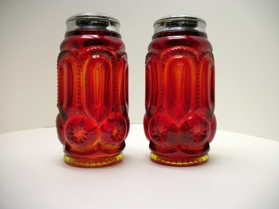 DEPRESSION GLASS Ruby Red Salt & Pepper Shakers