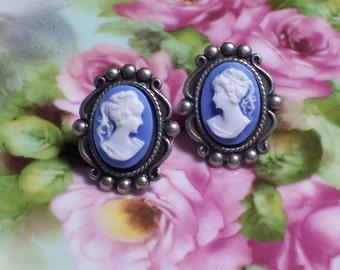 Blue Cameo Post Earrings, Blue Cameo Stud Earrings