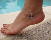 Silver Chain Anklet with Bermuda blue Swarovski crystal heart pendant