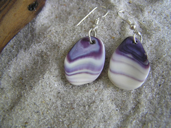 SeaShell earrings natural purple wampum with sterling silver wire birhday,wedding any occasion gift,innershelldesigns