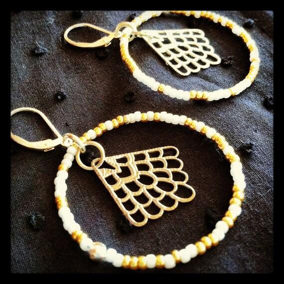 Handmade Beaded Hoop Earrings with Sterling Silver Angel Wings