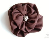 Chocolate brown flower brooch, fabric pin, fabric flower, double, brown, statement fashion accessory