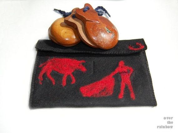 Felt case, purse, pouch for castanets, castanuelas, needle felted, toreador, torero, black and red, ooak, flamenco dancer accessories