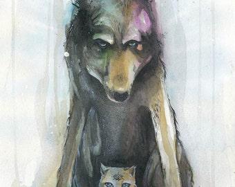 The Protector - wolf spirit, magic kitten, different print sizes, fine art print, spirit animal, shamanism, watercolours, art by phresha