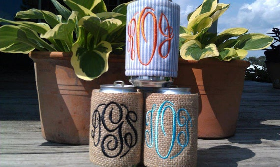 Koozies - Your Choice- Monogram included - BOTTLE OR CAN