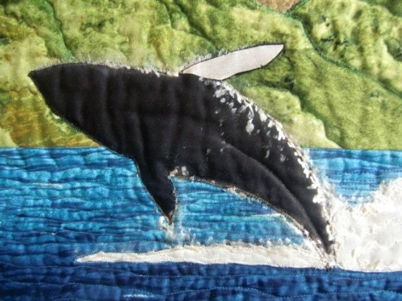 Kauai Whale Tropical Beach Landscape Seascape Quilted Wall Hanging Art Quilt